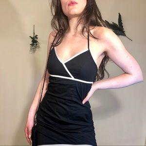 ESPRIT black halter mini dress with white accents